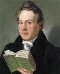 portrait des wiener schriftstellers christoph kuffner (1777-1846) mit seinem buch hesperidenhain der romantik by eduard ritter