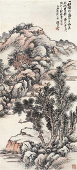 烟林晚照图 立轴 纸本 by zhao yunhe