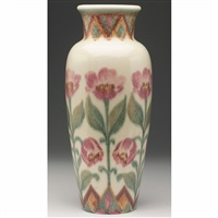 tapered vase with tulip design by margaret h. mcdonald