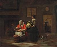 kücheninterieur mit zwei frauen bei der arbeit by pieter de hooch