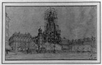 die kirche sainte trinité in paris mit eingerüstem turm by louis auvray