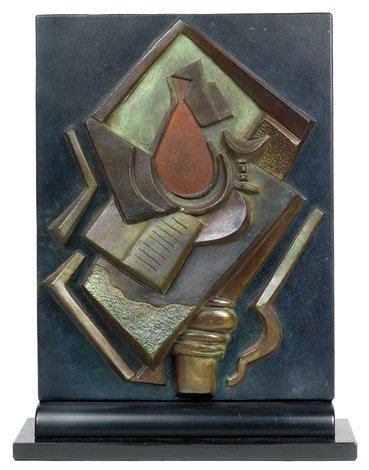 still life with book and vase on table by alexander archipenko