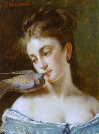 portræt af ung kvinde med due by eugène accard