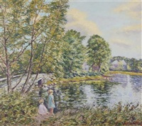 children playing by the stream by hugo melville fisher