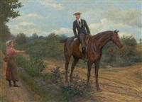 landskab med herre til hest der sporger kvinde om vej by karl müller