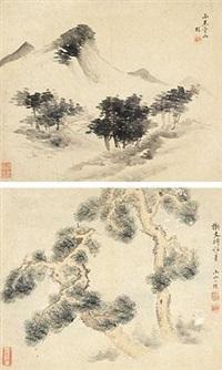 仿古山水 (landscape after ancient masters) (2 works) by zou yigui