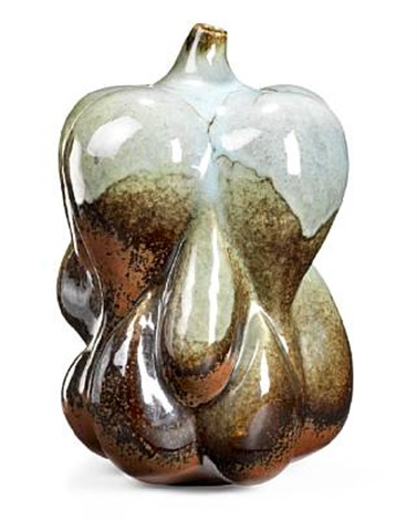 large fruit shaped sprouting style vase modelled with narrow mouth by axel johann salto