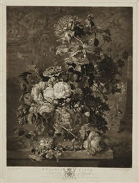a fruit piece, cabinet at houghton (+ a flower piece; pair after van huysom) by richard earlom