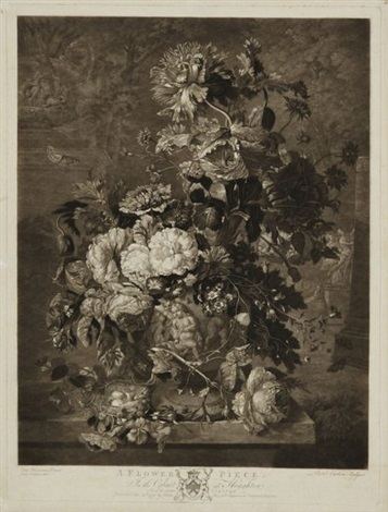 a fruit piece cabinet at houghton a flower piece pair after van huysom by richard earlom
