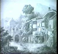 bauernhaus insudtirol, im hintergrund burg by friedrich wachsmann