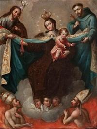 virgen del carmen con san josé, san francisco y las ánimas del purgatorio by jose antonio ayala