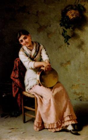 sittande ung kvinna med tamburin by girolamo nattino