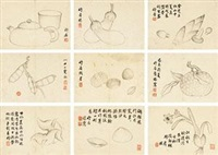 蔬香杂画册 (various subjects) (album of 10) by xue huai