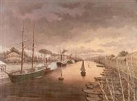 kanalmotiv med båtar i skymning by johan reinberg