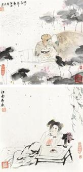人物 (两帧) 镜片 设色纸本 (2 works) by liu guohui