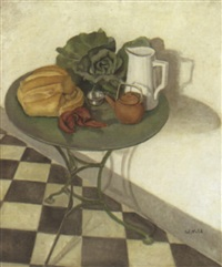 tabletop still life with white pitcher by w. nell