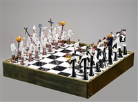 christians and jews: a thirty two piece chess set with board (set of 33) by gianni toso