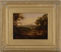 luminious landscape with cattle and figures by alvan fisher