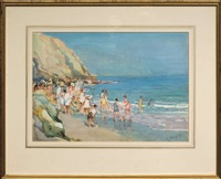 children at the shore (+ landscape with lake view, smllr; 2 works) by alfred john billinghurst