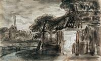 nächtliche landschaft mit einem bauernhaus by abraham furnerius