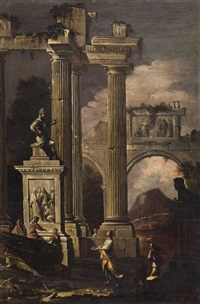 a pair of italian landscapes with ruins (pair) by abraham genoels
