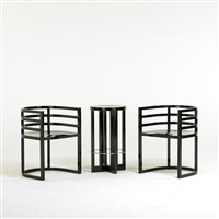 pair of armchairs (810a) and stool (3 works) by richard meier
