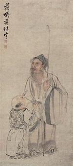 赏菊图 by jiang yu