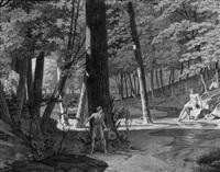 waldlandschaft mit badender frau, die von einem jüngling beobachtet wird by anna füssli