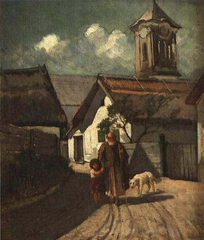 alter schäfer mit knabe und hund auf dorfweg by gyula aggházy
