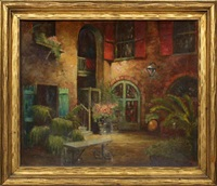 french quarter courtyard by george lzvolsky blattny