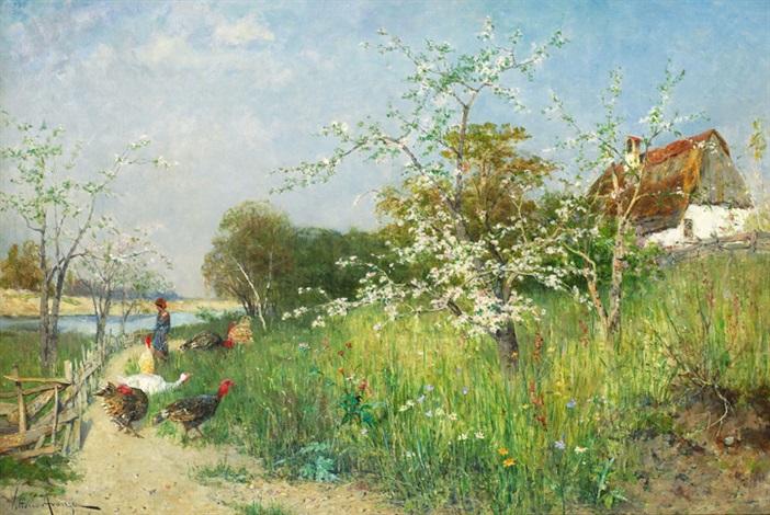 landskap med kvinna fåglar och blommande fruktträd by vittorio avanzi