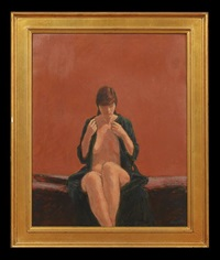 seated nude in a dressing gown by william anzalone
