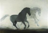 zwei galoppierende pferde by gernot rasenberger