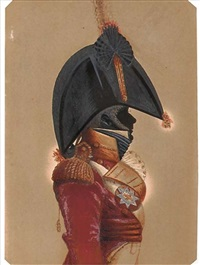an officer (a militia regiment?) in scarlet coat, wearing a bicorn, the shoulder belt plate with an eight-pointed silver star by john buncombe