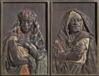 le fier guerrier (+ jeune fille aux bijoux; pair) by louis hottot