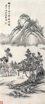 溪山晚霭图 立轴 纸本 by yao shuping