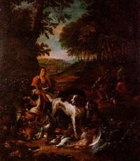 großes jagdstilleben mit jagdgesellschaft und beute by willem frederik van royen