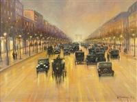 abendlich beleuchtete champs-élysées mit zahlreichen automobilen by gernot rasenberger