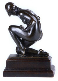 untitled - kneeling nude (+ another; 2 works) by mario korbel