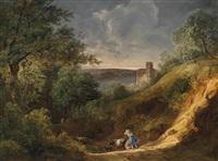 nahendes unwetter mit blick auf greifenstein an der donau by joseph feid