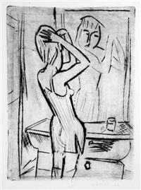 mädchen vor dem spiegel (from die schaffenden) by robert (willy) huth