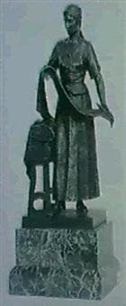 stehende magd, neben einem schemel mit stoffballen by hans ulrich arnold