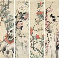 花鸟 (in 4 parts) by ren xun