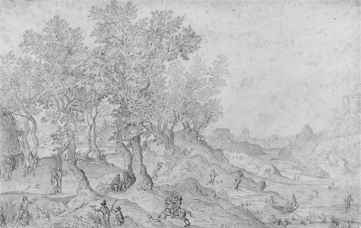 weite landschaft mit falkenjagd by lucas van valkenborch