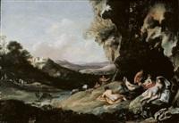 landschaft mit nymphen und satyrn by jan (hermafrodito) linsen