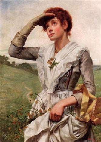 ung kvinna med blommor i förklädet by w savage cooper
