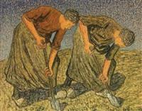 twee werkende vrouwen in zonlicht by cornelis albert van assendelft