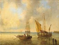 versch. schiffe vor der küste by johann jacob