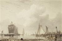 küstenlandschaft mit fischern und segelschiffen by carl sebastian von bemmel