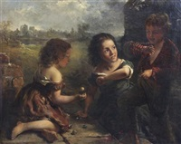 children playing jacks by b.b. wadham